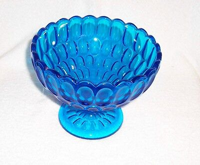 Fenton Art Glass Colonial Blue Thumbprint Footed Comport Wedding Bowl Base