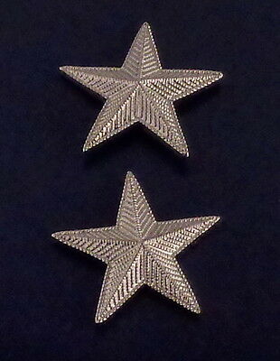 "1 star 1"" CORRUGATED SILVER Pair Collar Pins Rank Insignia police/chief/deputy"