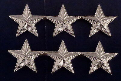 "3 stars 1"" CORRUGATED SILVER Pair Collar Pins Rank Insignia police/chief/deputy"