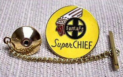 Santa Fe Super Chief Railroad Tie Tack and Chain Clasp