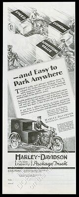 1929 Harley-Davidson motorcycle package G.E. delivery truck vintage print ad
