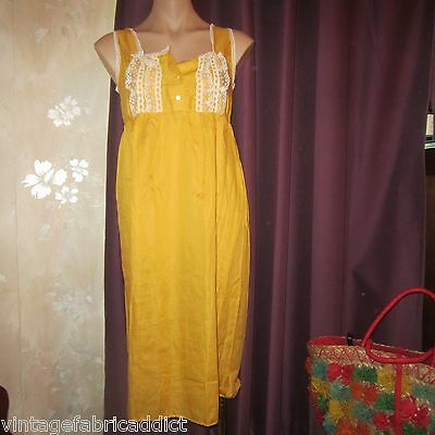 Divine Vintage Yellow Cotton Voile Night Dress 1970S Balmoral Original Ssw