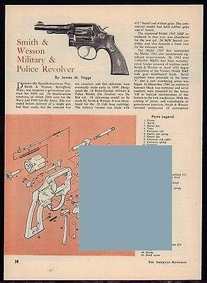 1961 SMITH & WESSON Military Police Revolver Exploded Parts Assembly Article