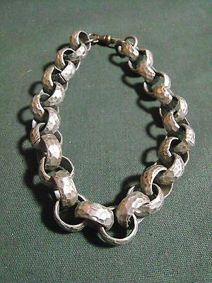 "Unique Hammered Aluminum Bracelet 8"" Long"