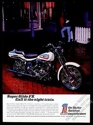 1971 Harley Davidson Super Glide FX red white blue motorcycle photo print ad