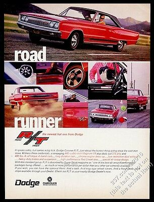 "1967 Dodge Coronet R/T RT red car 8 photo ""Road Runner"" vintage print ad"