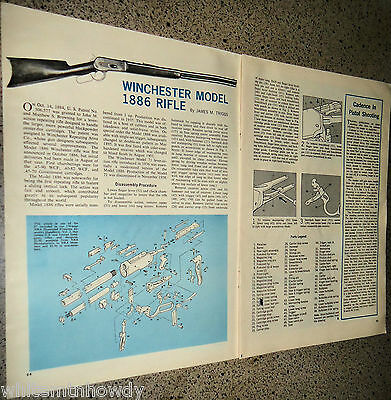 1967 WINCHESTER Model 1886 RIFLE Exploded View~Parts List~Assembly Article