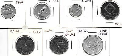 Italy Lot Of 7 Different Coins