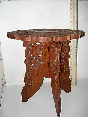 Table. Carved And Inlaid Arabic Design. Vintage Collectable