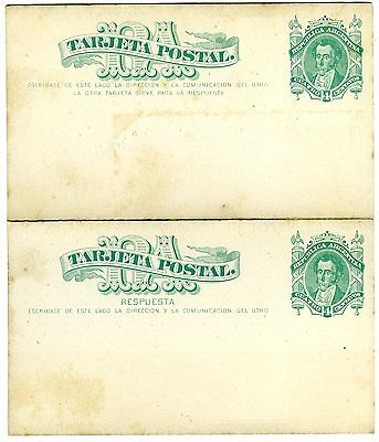 1878 Argentina Psc Reply Paid Postal Stationery Postcard