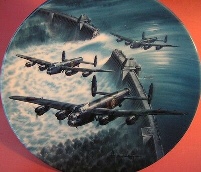 Royal Worcester Breakthrough Wilfred Hardy Dambusters Lancaster Bomber Plate