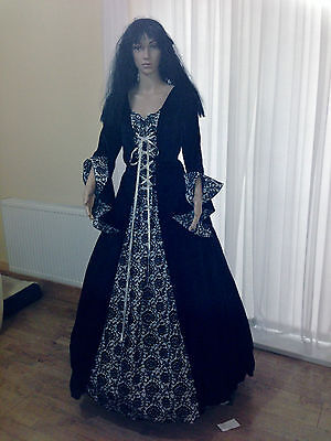 NEW Gothic Medieval Lady / Theatre Vampire Handmade Fancy dress costume 14 16 18