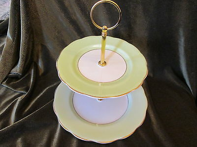 Lovely Vintage Mint Green English China Plated 2 Tier Cake Stand