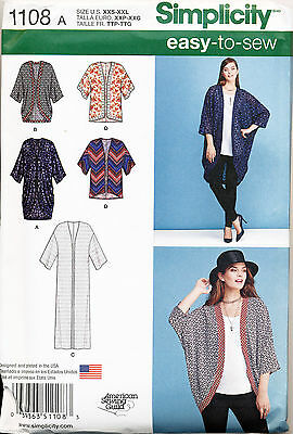 Simplicity Sewing Pattern 1108 Misses 4-26 Easy Kimono Style Jackets, Plus Sizes
