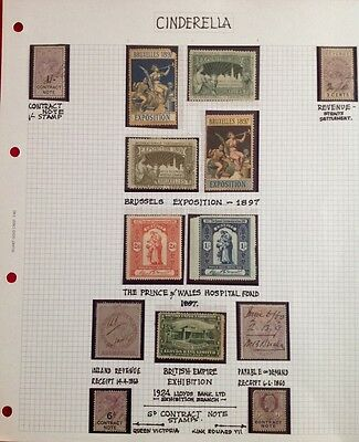 Stamp Album Page - Cinderella - 13 stamps - not hinged