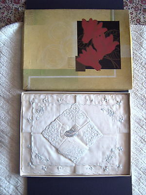 """ VINTAGE HANDKERCHIEFS - BOXED - 3 x FINE EMBROIDERED LAWN - SWITZERLAND"