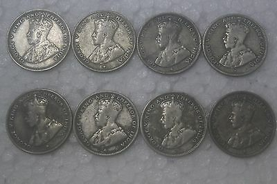 Straits Settlement  1916/1919/1926/1935 Silver 20 cents VF condition