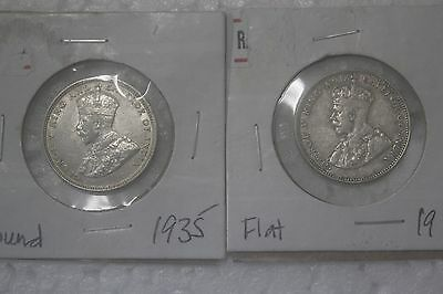 Straits Settlement 1935 Silver 20 cents Flat/Round EF condition