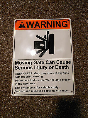 Warning Signs for Electric Moving Gates 8.5x11 Metal (Qty. 2)