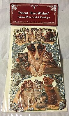 New Sealed Shackman Victorian Style Die Cut Dogs/Cat Card & Envelope Best Wishes