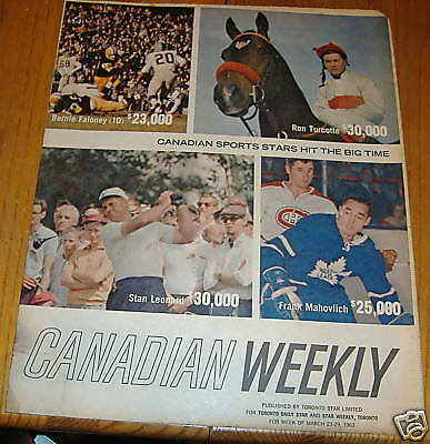weekend magizine march 23 -29 1963 frank mahovlich