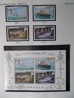 Anguilla 1977 Sg 269/272 Ms 273 Silver Jubilee Mnh Um 269/72 Used, Sil Jub Book