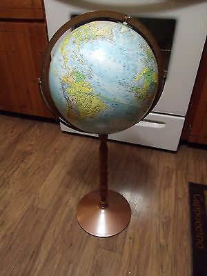 "Vintage Replogle 12""  World Nation Globe Metal Floor Stand Raised Geography"