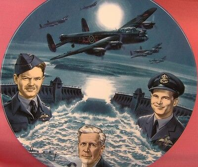 The Dambusters - A Tribute Lancaster Bomber Large Plane Plate Box & Certificate