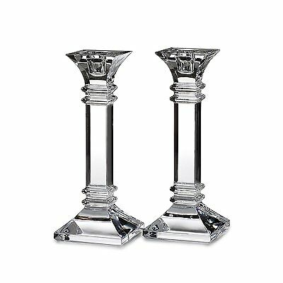 "Marquis By Waterford Crystal Glass Candle Sticks Pair 8"" Treviso BNIB Home"