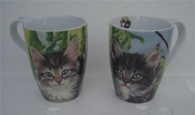 Gorgeous Cats  Double Pottery Mug set in matching Gift Box NEW