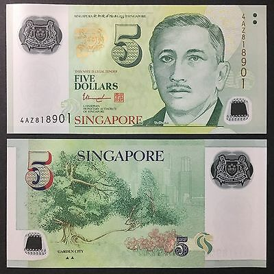 2017 Singapore Portrait Polymer 5 Dollars W/2 Triangle P-New Unc