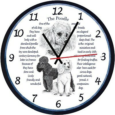 Poodle Dogs  Origins & Facts Gift Boxed Wall Clock