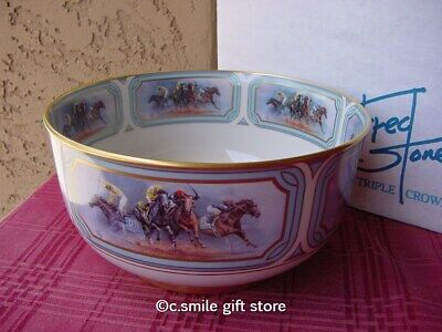 FRED STONE Horse *Triple Crown Bowl & Riders On The Rain Print* LE MIB COA RARE!