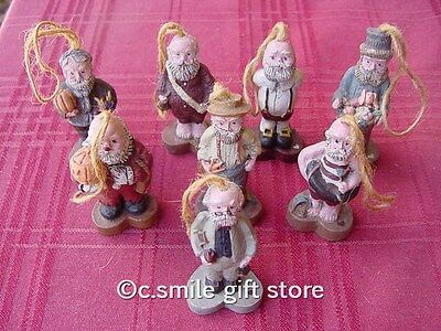 "Sarah's Attic ""SET OF 8 SERIES 'A' SANTA ORNAMENTS"" Issued1988 w/COA VERY RARE!"