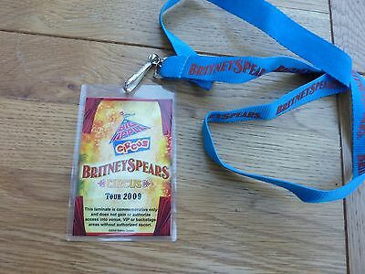 2009 Britney Spears Circus Tour Commemorative Laminate Pass On Lanyard