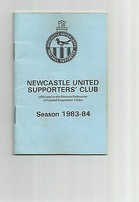 Newcastle United Supporters Club Fixture Card 1983-84