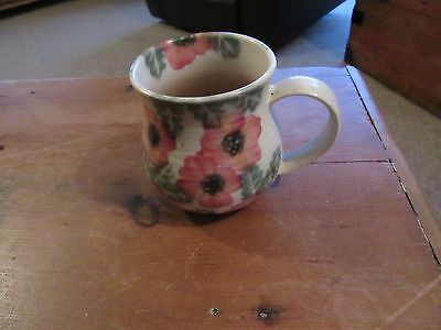 "BEN THOMAS PORCELAIN HAND MADE floral MUG red flowers approx  3.5"" TALL"