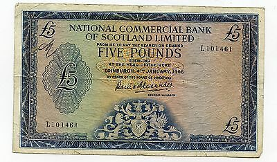 NATIONAL COMMERCIAL BANK OF SCOTLAND £5 Banknote 4TH January 1966