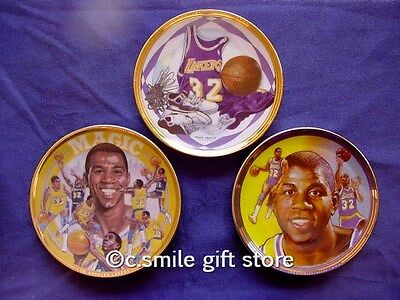 "Sports Impressions *MAGIC JOHNSON* Lakers Basketball 3 mini 4 1/4"" plates MIB"