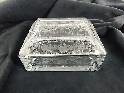 Vintage Duncan Miller First Love Glass Box with Lid Circa 1937