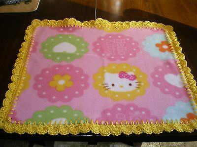 BABY GIRL PINK HELLO KITTY BLANKET PLUSH SECURITY LOVEY  YELLOW trim