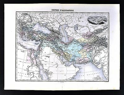 1880 Migeon Map  Empire of Alexander Hellenistic Greece Middle East Babylon Iran