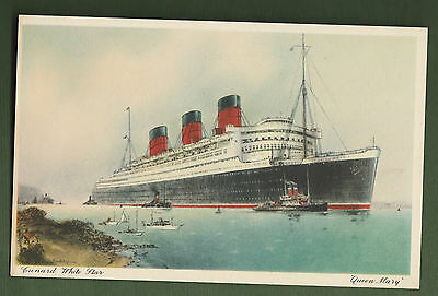Ocean Liner Cunard White Star Queen Mary B.43. Printed in England Postcard