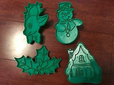 Lot of 4 VINTAGE Wilton Cookie Cutters Christmas