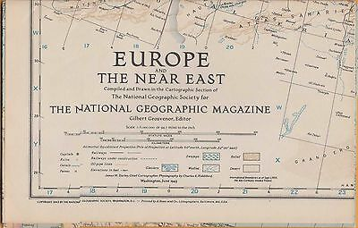NATIONAL GEOGRAPHIC MAP ~ EUROPE & NEAR EAST DURING WWII ~ June 1943 ~ VERY NICE