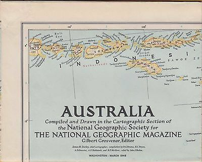 NATIONAL GEOGRAPHIC MAP ~ AUSTRALIA ~ March 1948 ~ VERY NICE CONDITION
