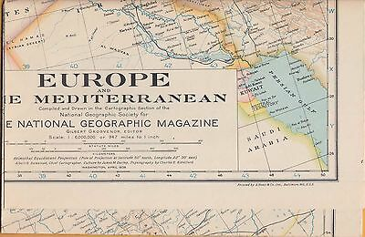 NATIONAL GEOGRAPHIC MAP ~ EUROPE & MEDITERRANEAN ~April 1938~VERY NICE CONDITION