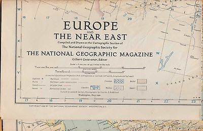 NATIONAL GEOGRAPHIC MAP ~ EUROPE & THE NEAR EAST ~ May 1940 ~VERY NICE CONDITION