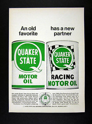 1967 Quaker State Racing Motor Oil classic can art vintage print Ad