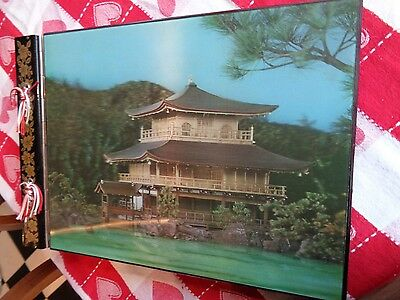 Japanese Photo Album With Music Box Wooden/ Japanese 3-D cover &  Music box